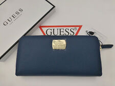 GUESS Zipper Purse Deep Blue KALISIA Large Zip Round Coin Pu Wallet Boxed RRP£48