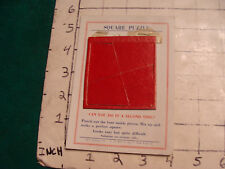 VINTAGE puzzle, SQUARE PUZZLE, with card, 4 red pieces, Q T NOVELTY, undated