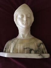 Large Antique Marble Alabaster Bust of Dante's Beatrice Very Rare