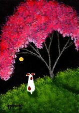 Jack Russell Terrier Dog Apple Tree Folk Art Print Todd Young Crabapple Tree