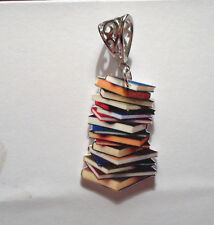 STACK OF BOOKS PENDANT NECKLACE CHARMS EDUCATIONAL READ