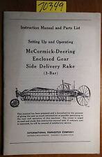 IH McCormick-Deering Enclosed Gear Side Delivery Rake 3 Bar Manual 7/46