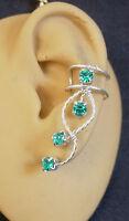 Single Left  Ear cuff  in Blue Zircon Swarovski crystal rhinestone #79BLZsf