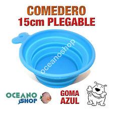 COMEDERO BEBEDERO PERRO GOMA AZUL PLEGABLE 15cm DIÁMETRO VIAJES D100 DWC 109