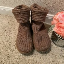 UGGS, big girls, camel colored pull on sweater knit boots, size 1