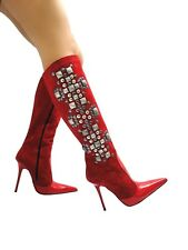 MORI ITALY KNEE HIGH NEW BOOTS STIEFEL STIVALI LEATHER STUDS SILVER RED ROSSO 40