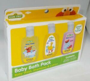 SESAME STREET Baby Bath Pack For Travel Baby Wash, Shampoo & Lotion NIB
