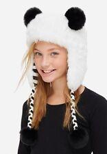 Justice Girls Panda Earflap Faux Fur Lined White Hat w/ Pom-Pom Ears & Tie Ends