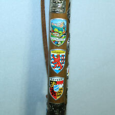 Gorgeous Vtg German Ice Walking Stick Wanderstock With 37 European Medallions