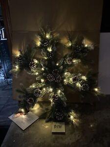 "Martha Stewart 30"" Snowflake Multi Function Cordless Wreath LED lighted Pinecone"