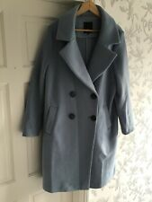 River Island Womens Light Blue Wool Mix Coat Size 16