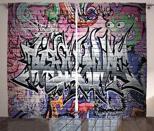 Urban Curtains Graffiti Grunge Wall Art Window Drapes 2 Panel Set 108x90 Inches