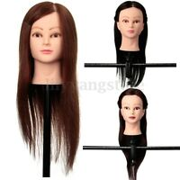 Hot 100% Real Human Hair Hairdressing Training Practice Head Mannequin +  New A