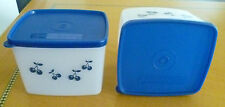Tupperware Free Ship New Square Round Classic Container Box Set 2 Blue Berry
