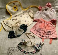 1960's Vintage- Lot 5 DOLL APRONS-Handmade- Raggedy Ann Tag-Polka Dots- Stripes