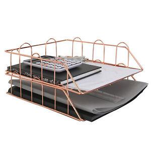A4 Rose Gold Wire Filing Trays Letter Racks Desk Organiser Document Holder M&W