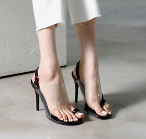 Clip Toe Thong Slingback Sandals Transparent Stiletto High Heel Lady Shoes Party