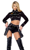 Sexy Forplay Shoot em Down Cowgirl Sheriff Black Costume 2pc Set 555233