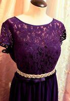 New Long Formal Plum Dress Size 14 W/ New Belt