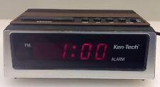 Ken-Tech Model 1932 Red Digital Alarm Clock Compact Wood Grain Made In Hong Kong