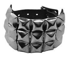 Bullet 69 Black 3 Row Pyramid Studded Leather Wristband