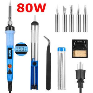 Soldering Iron Kit 80W LCD Solder Gun Tips Station Desoldering Pump Welding Tool