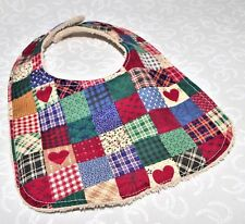 Handmade Country Kitchen Patchwork Baby Bib 100% cotton Terry Cloth Backing