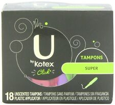 Kotex click unscented tampons by U, super absorbency - 18 ea/pack