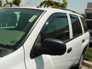 """In-Channel Wind Deflectors: 2002-2009 Chevy Trailblazer LT (19"""" Rear Windows)"""