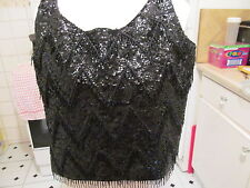 LADIES HEAVILY SEQUINED AND BEADED VEST TOP SIZE 8/10 WITH MATCHING HANDBAG