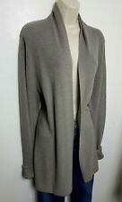 ALL SAINTS WOMENS LONG CARDIGAN JUMPER L GREY OPEN FRONT COTTON