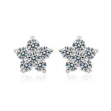 Cz Cubic Zirconia - Crystala White Sakura Flower Stud Earrings