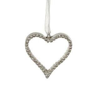 Diamanté & Glass & Ribbon Hanging Heart Home Wedding Decoration 4.5x4.5cm