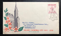 1958 Nelson Cathedral New Zealand First Day Cover FDC To Auckland City Centenary
