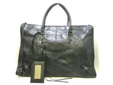 Auth BALENCIAGA The Weekender 110506 Black Leather Handbag