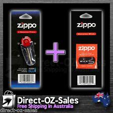 Zippo flints x 6 and Zippo Wick (Genuine) -- Oz Seller -- Free Postage!