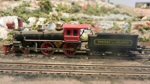 AHm Rivarossi Vintage HO W&A Reno Old Time 4-4-0 Steam Locomotive, Tested, Exc..
