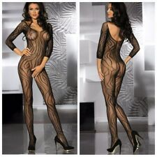 Sexy sleeved bodystocking fishnet crotchless bodysuit nightwear UK Seller