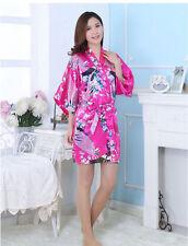 Women- Plain Silk Satin Robes Bridal Wedding Bridesmaid Bride Gown Kimono Robe