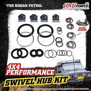 Swivel Hub King Pin + Wheel Bearing Seal Kit for Nissan Patrol MQ