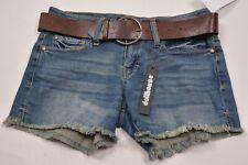 Dollhouse Juniors Blue Belted Frayed Hem Shorts Size 1