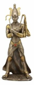 """Ancient Egyptian God Of The Dead Osiris Holding Crook And Flail Statue 11.5""""H"""