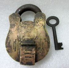 Vintage Old Rare Solid Brass Royal Patent  Mark London Padlock Lock With Key