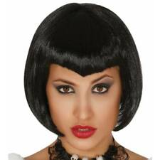 Peluca Corta Negro Vamp Bob Juegos con disfraces Halloween Vestido de fantasía