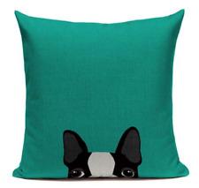 Boston Terrier B5 Cushion Pillow Cover Cartoon Pet French Bulldog Handmade Green