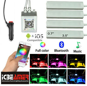 4pcs Bluetooth Car Interior RGB LED Strip Atmosphere Light Phone APP Control T16
