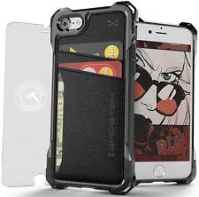 iPhone 7 Wallet Case, Ghostek Exec Series Premium TPU Black Leather Card Holder