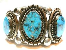 Silver & Turquoise Cuff Bracelet Antique Vintage Native American Sterling