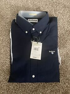 Barbour Dark Navy Long Sleeve Cotton Tailored Fit Shirt XL BNWT RRP £59.95