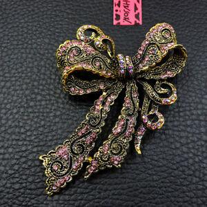 Hot Pink Rhinestone Bowknot Crystal Betsey Johnson Charm Brooch Pin